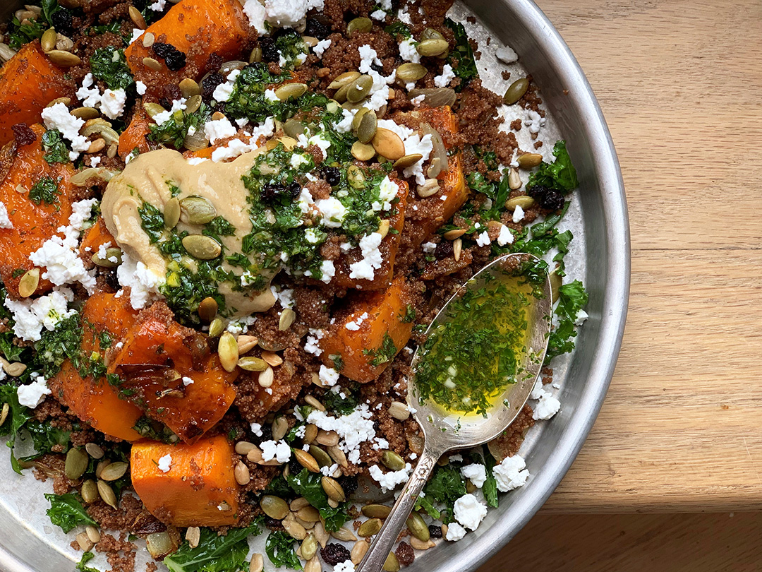 Roasted Squash, Teff Grain & Kale Salad