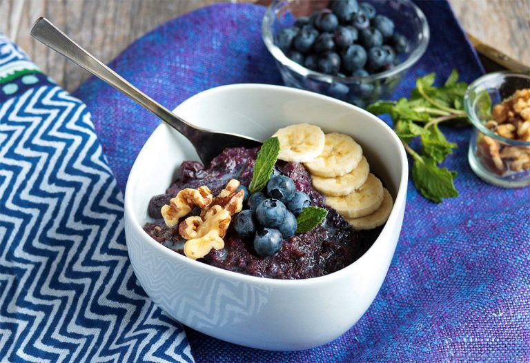 Instant Pot Blueberry Porridge is great for breakfast or a snack!